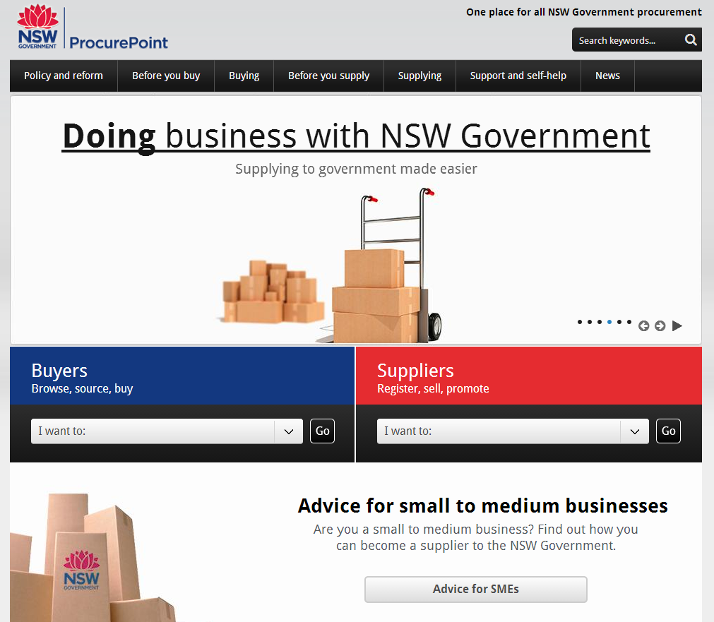 New South Wales Government's ProcurePoint homepage