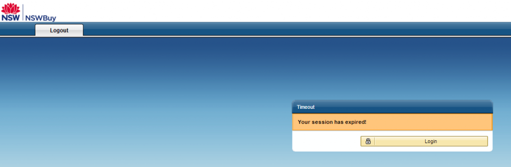 The NSWBuy experience - your session has expired!