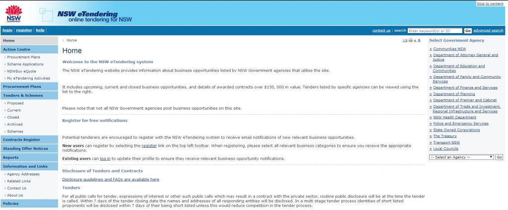 NSW eTendering homepage