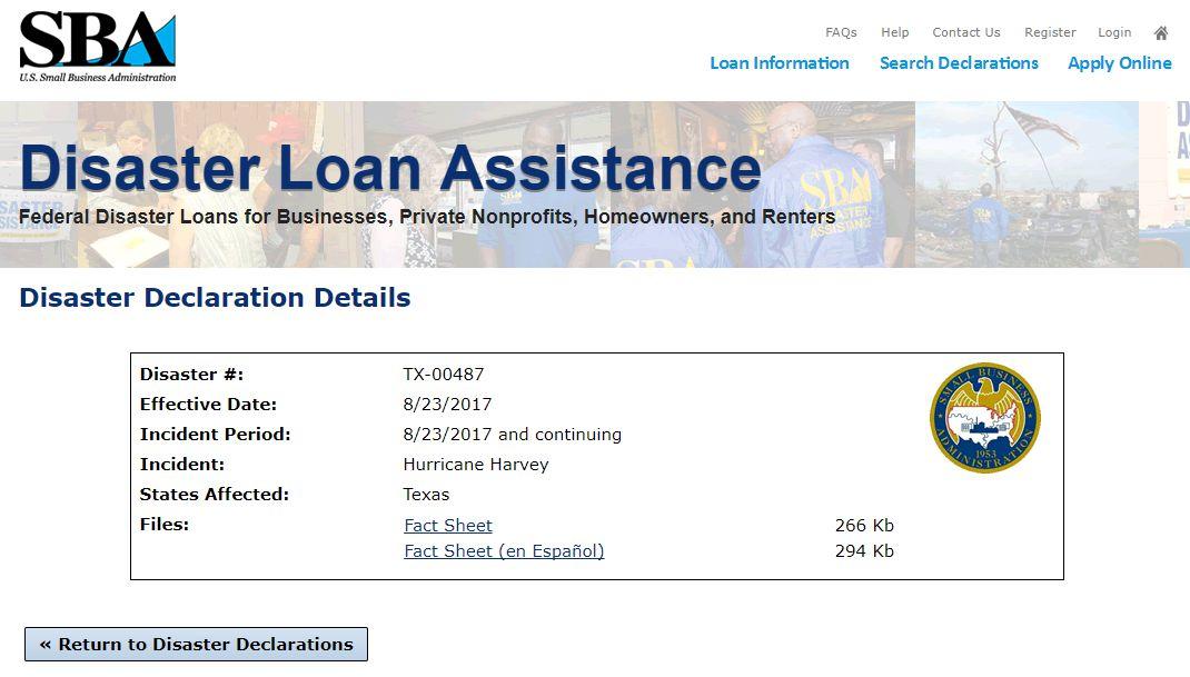 Hurricane Harvey details page on SBA.gov
