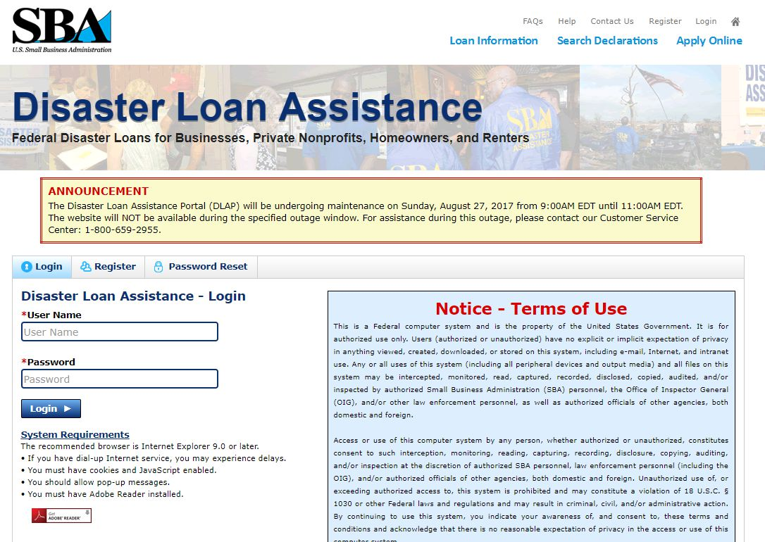 SBA.gov's disaster loan application page: having a system outage during a disaster event!