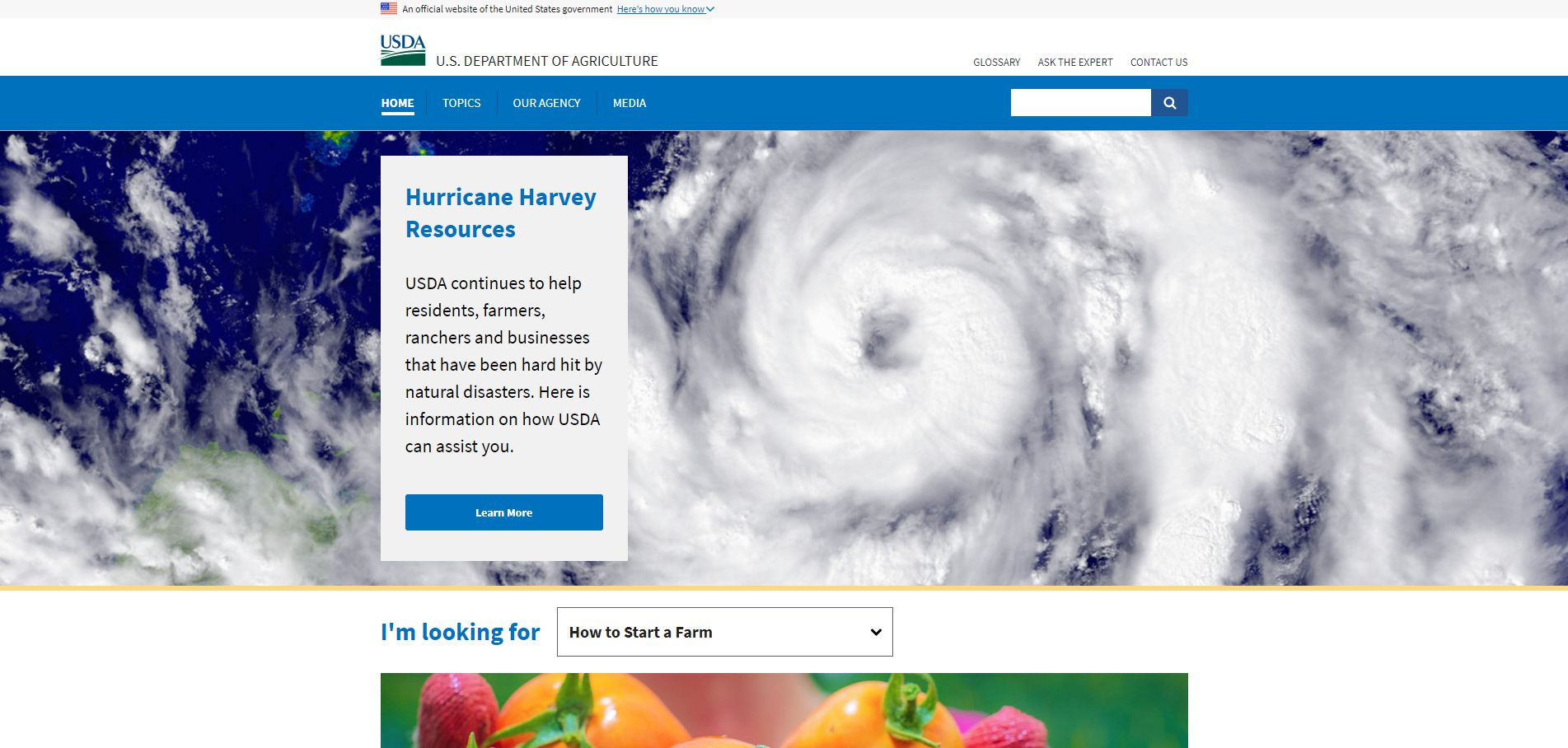 USDA.gov's homepage after Hurricane Harvey