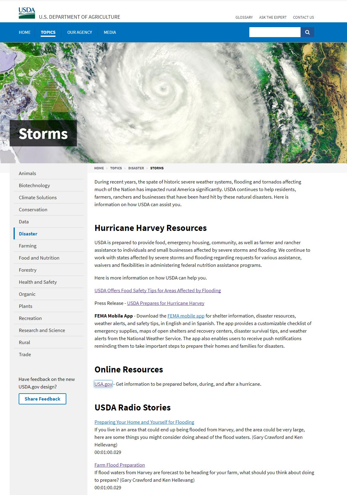 USDA.gov's Hurricane Harvey page