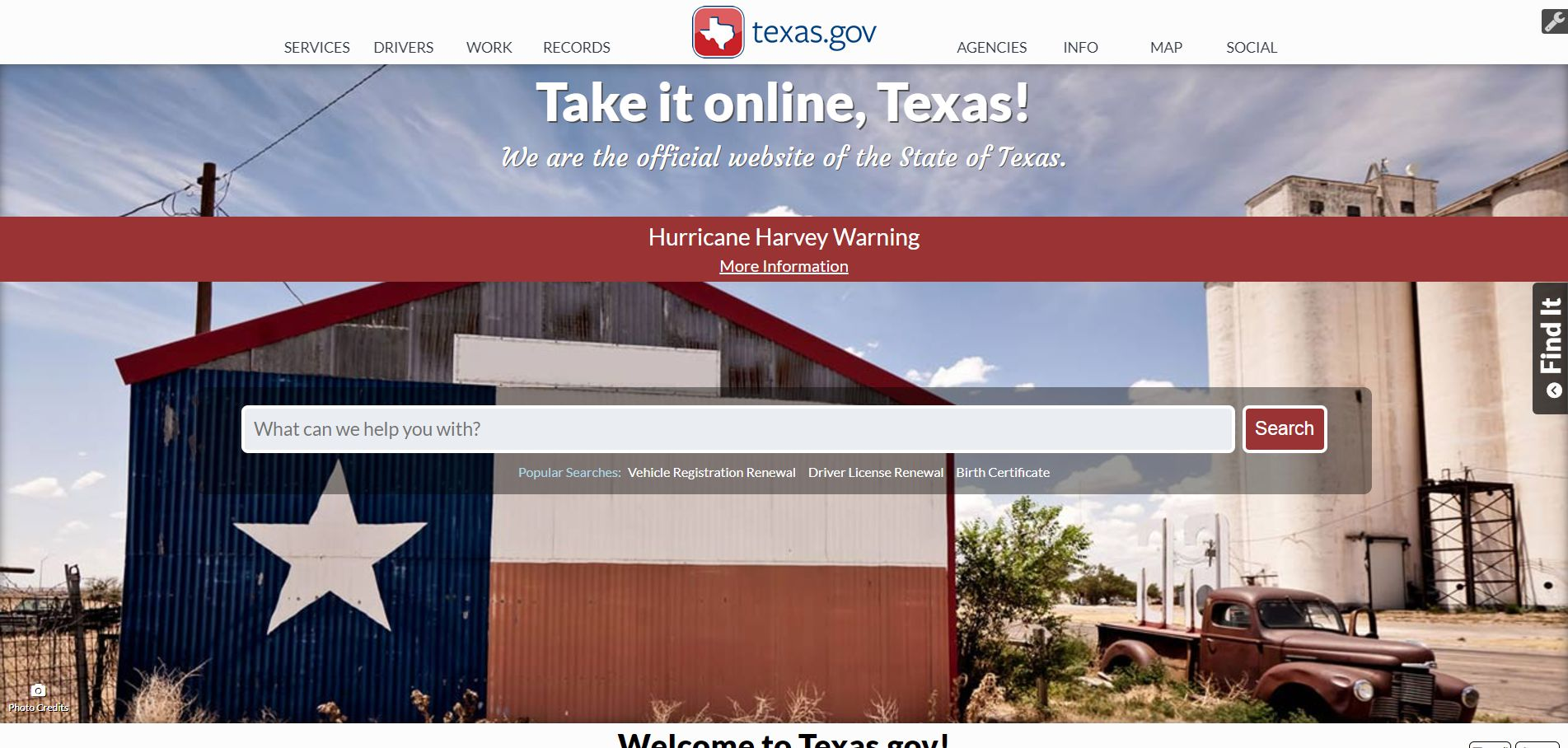 Texas.gov after Hurricane Harvey