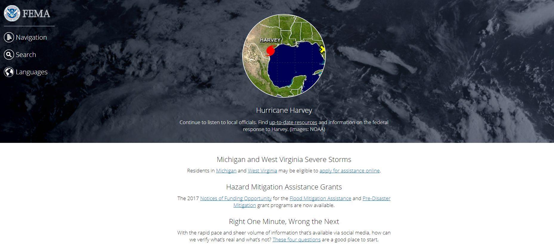 FEMA.gov's homepage during Hurricane Harvey
