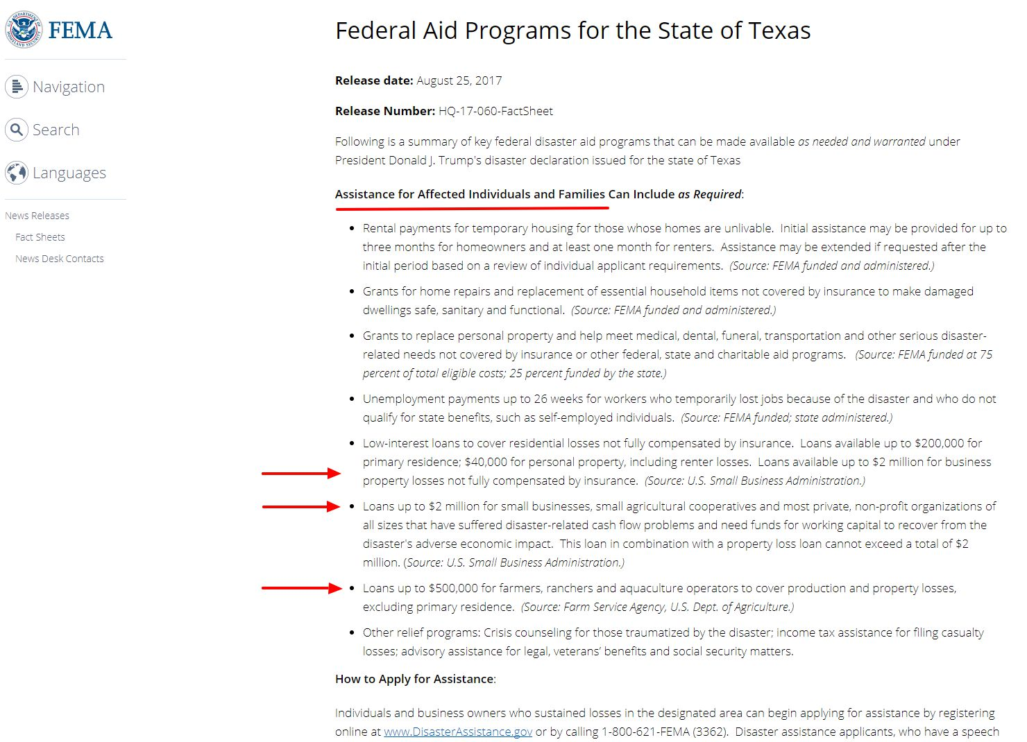 FEMA web page about Hurricane Harvey federal programs
