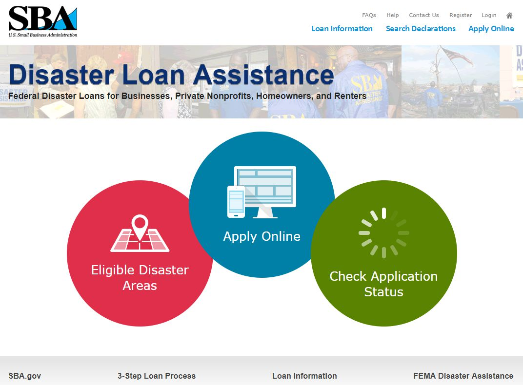 SBA.gov's disaster loan assistance page after Hurricane Harvey
