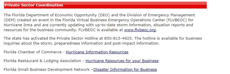 Buried business content - Emergency Information