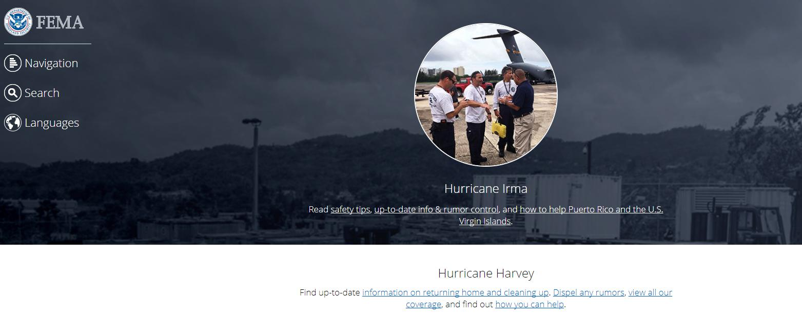 FEMA.gov homepage - Irma