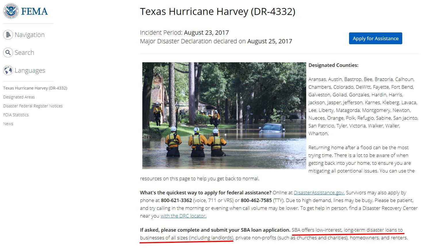 Texas Hurricane Harvey - FEMA page