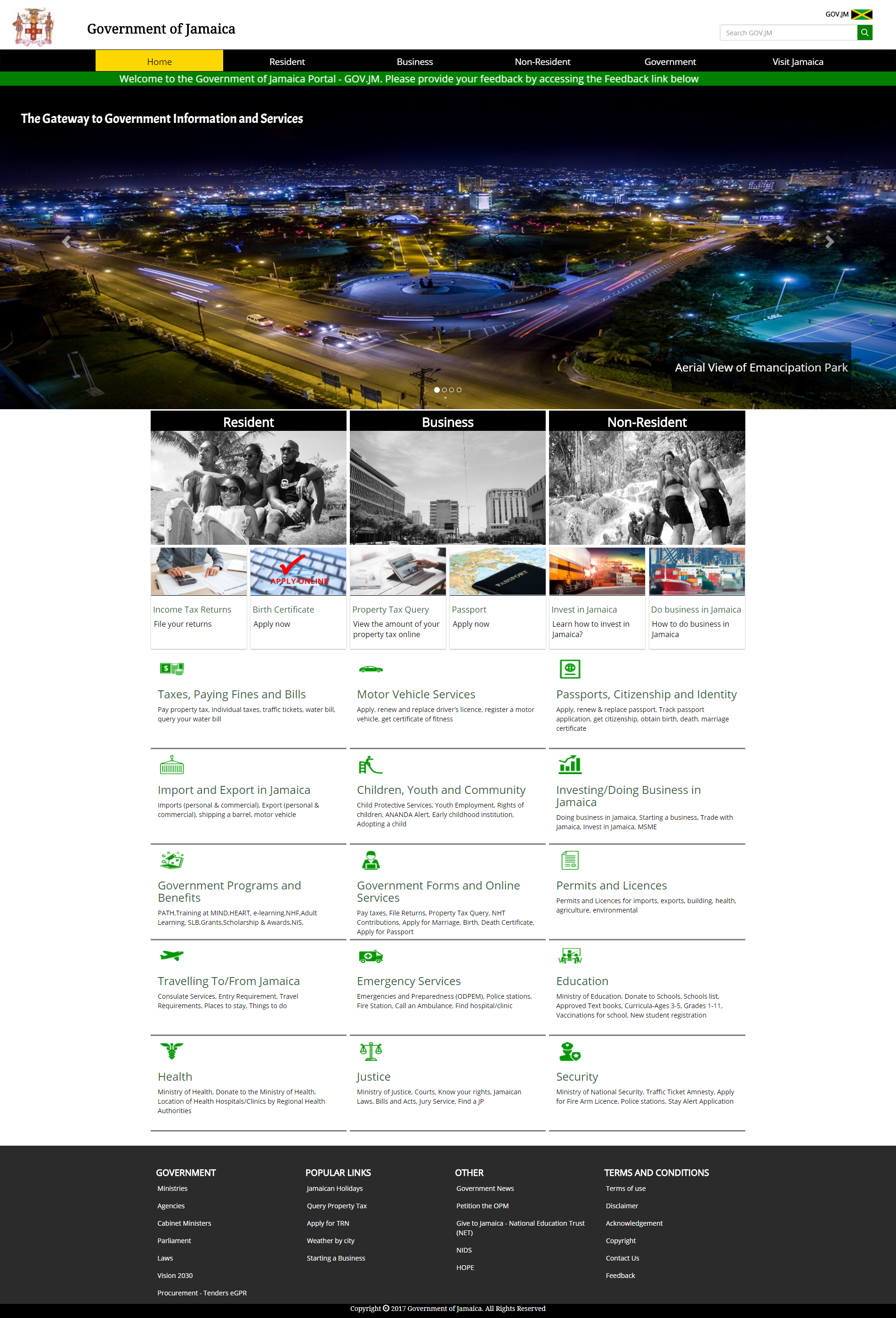 Homepage of GOV.JM
