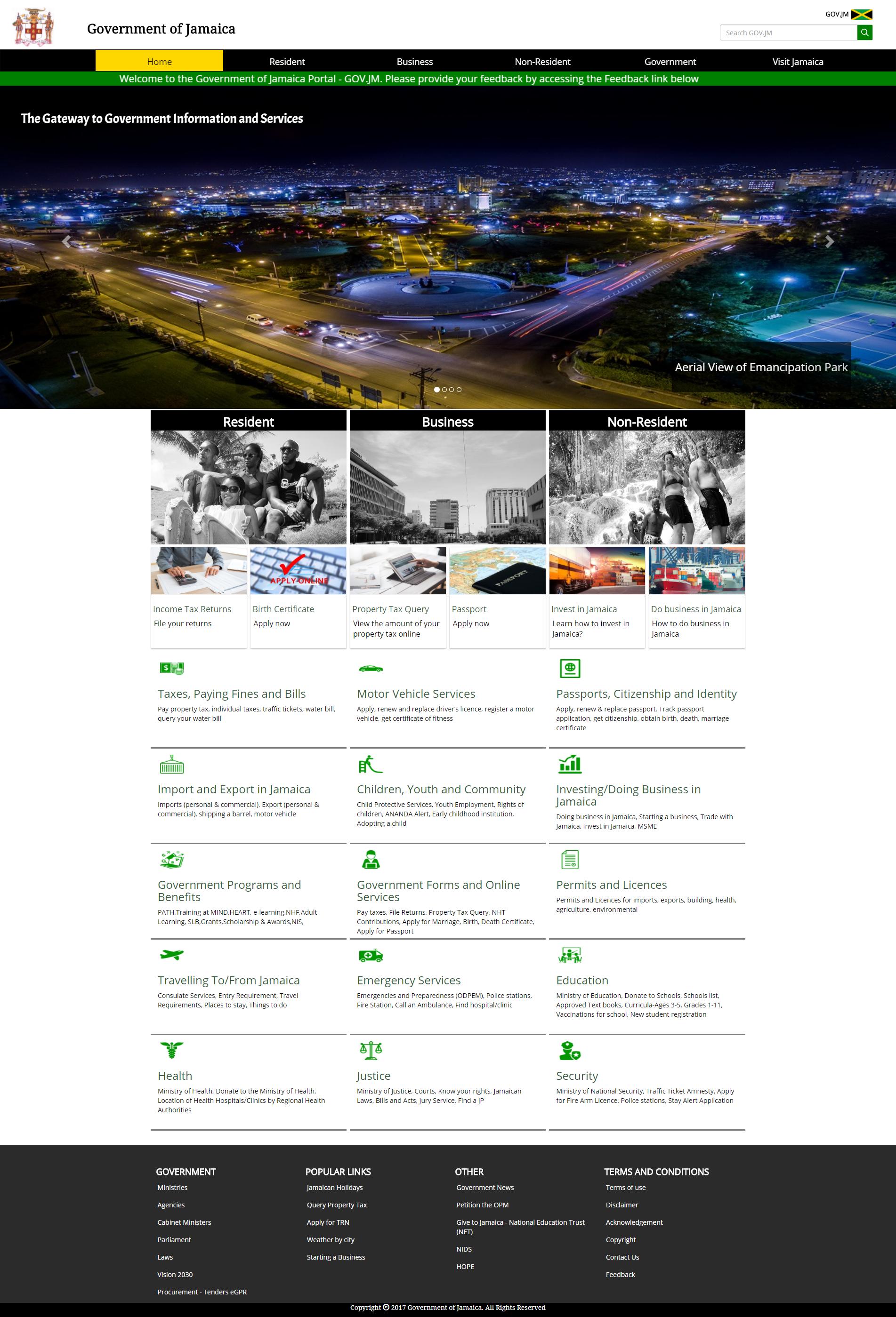 Homepage of GOV.JM