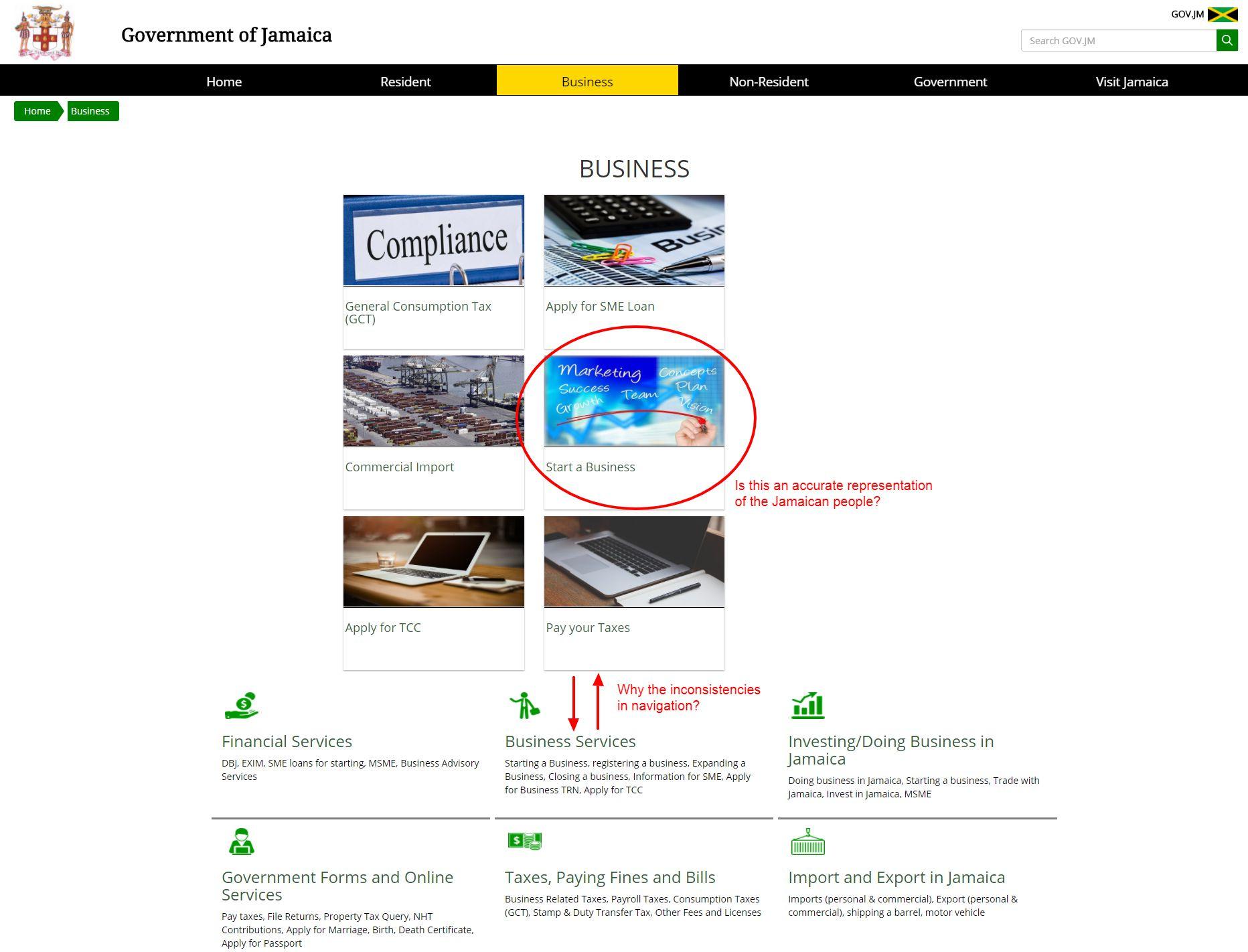 Business page on GOV.JM
