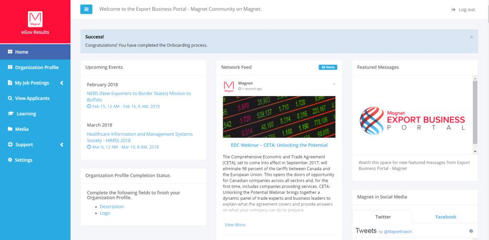 Dashboard Magnet Export portal