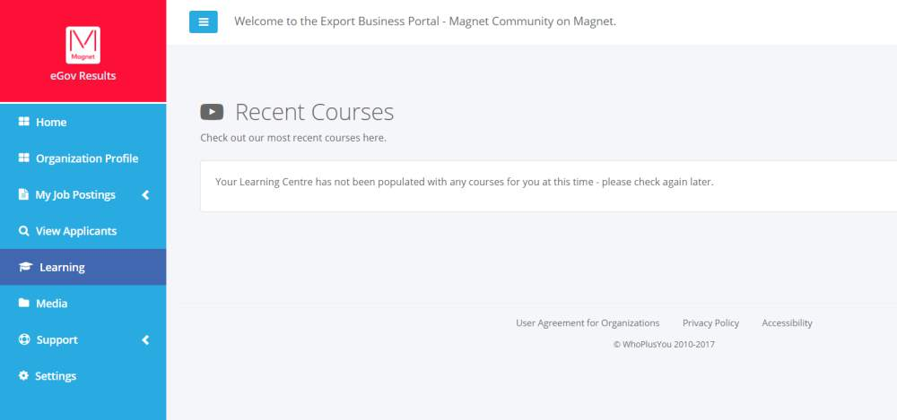 The Learning section of the Magnet Export portal
