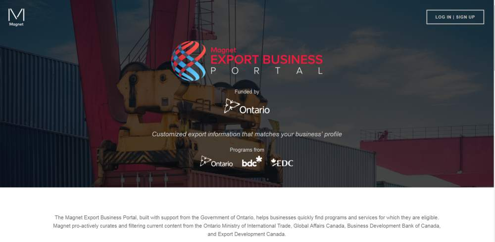 Magnet Export Business Portal homepage