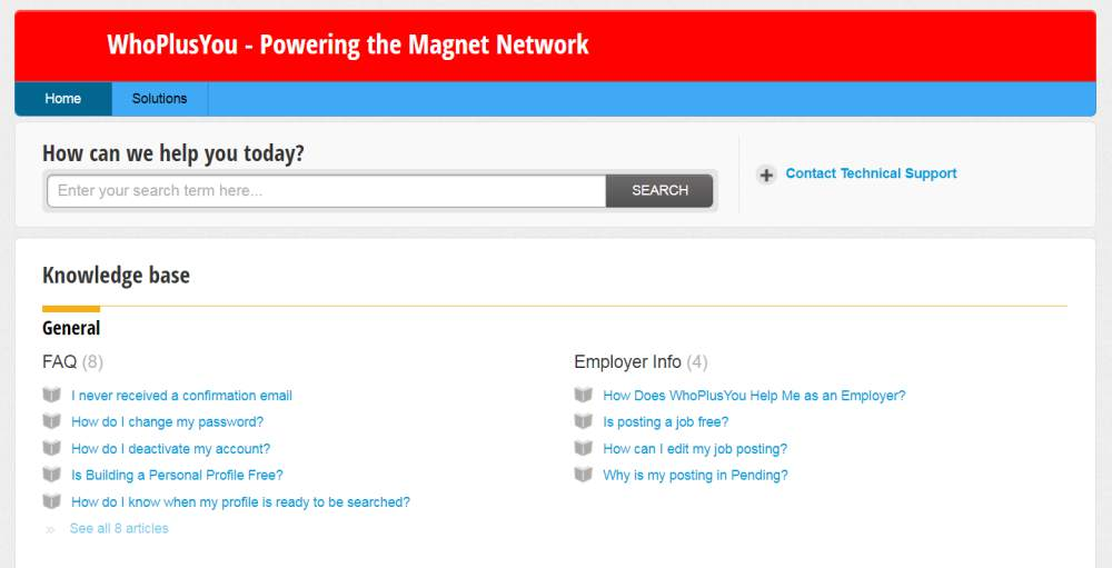 Support section of the Magnet Export portal