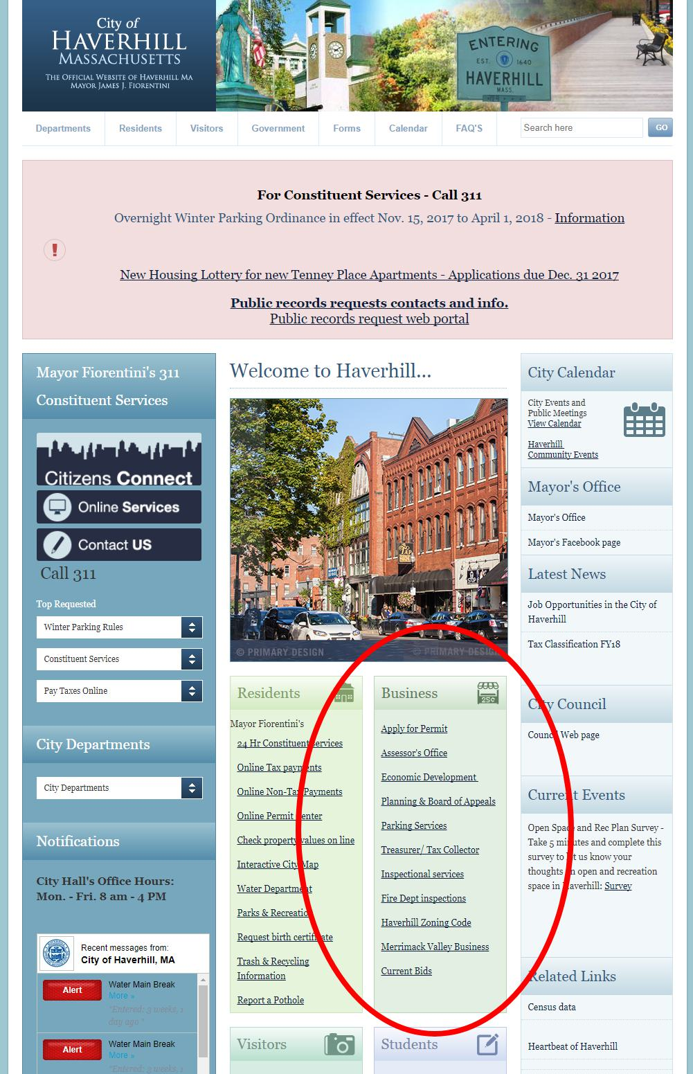 City of Haverhill homepage