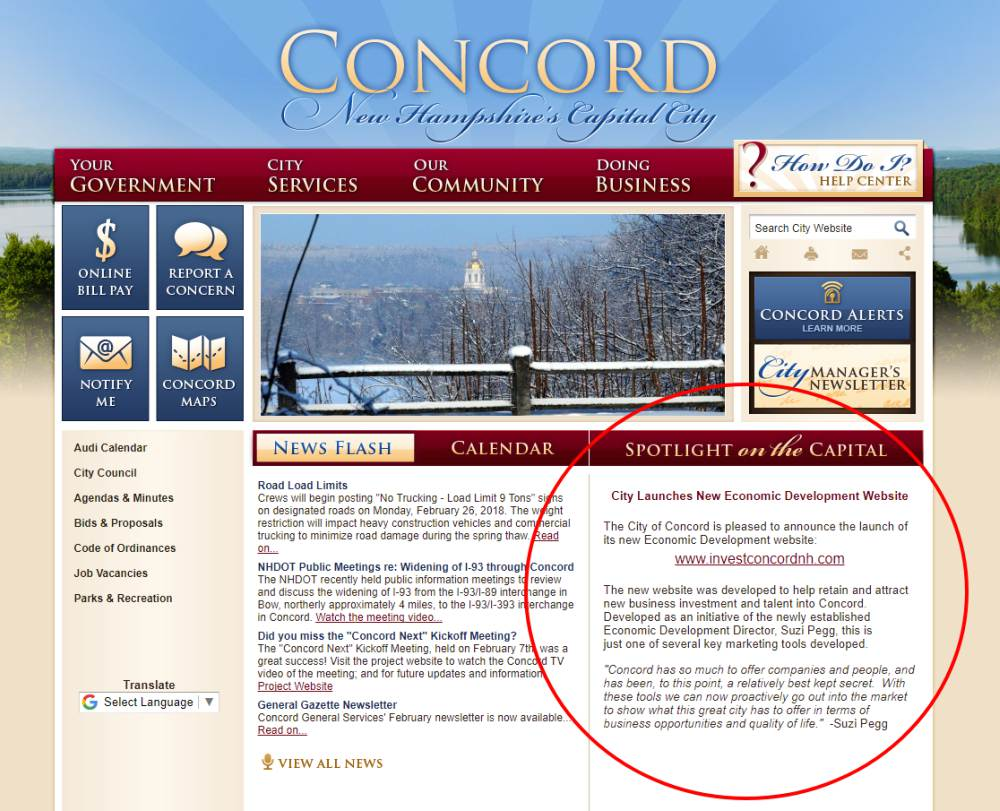 Concord NH's Website