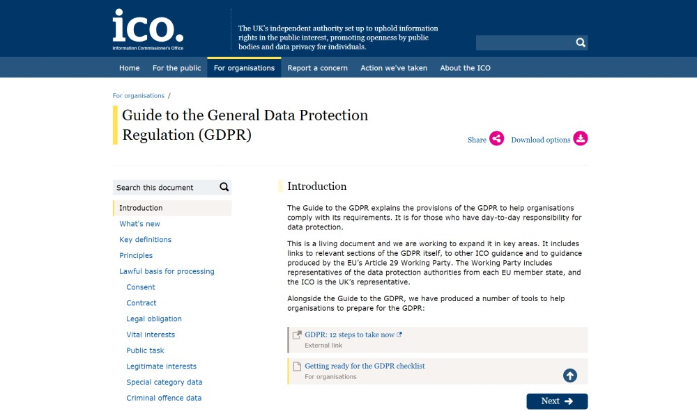 GDPR guide on ICO