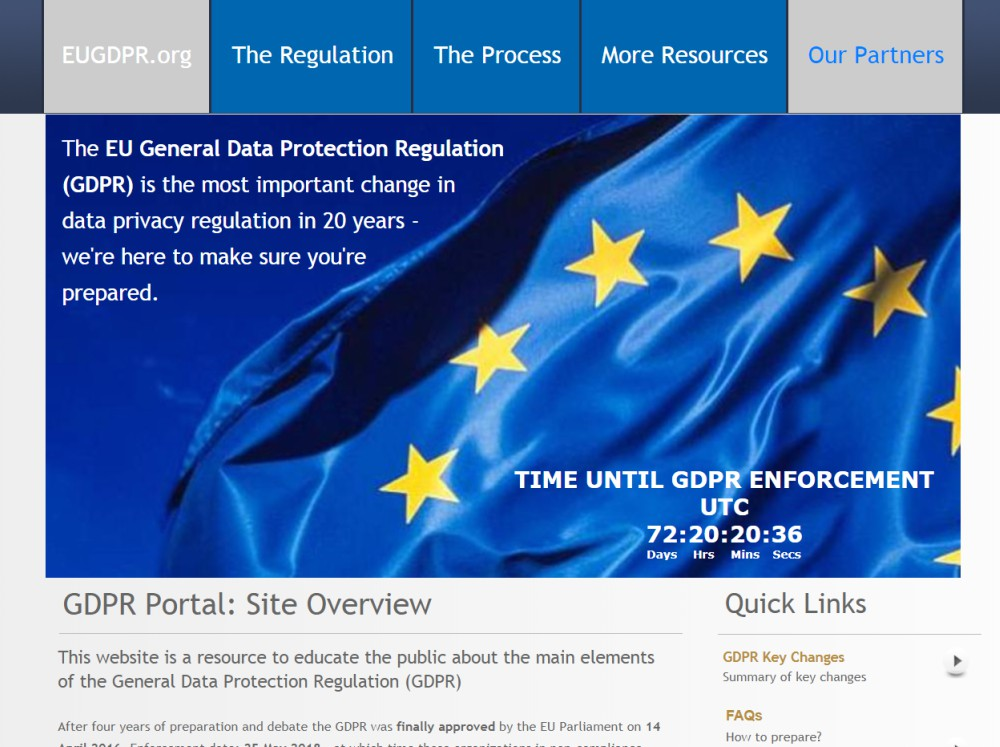 EU GDPR homepage